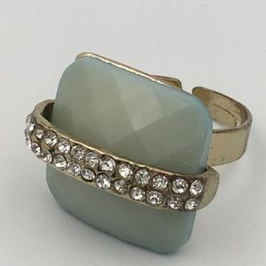 •Lucite Light Teal w/Crystal Costume Ring